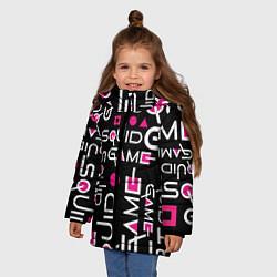 Куртка зимняя для девочки SQUID GAME ЛОГО PINK цвета 3D-черный — фото 2