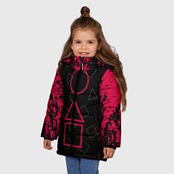 Куртка зимняя для девочки Игра в кальмара: Игра началась цвета 3D-черный — фото 2