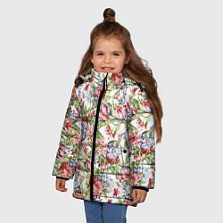 Куртка зимняя для девочки Цветы цвета 3D-черный — фото 2