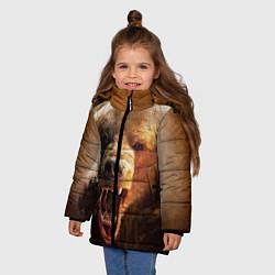 Куртка зимняя для девочки Рык медведя цвета 3D-черный — фото 2