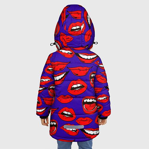 Зимняя куртка для девочки Губы / 3D-Черный – фото 4