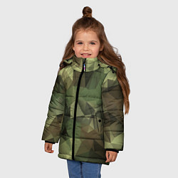 Куртка зимняя для девочки Полигональный камуфляж цвета 3D-черный — фото 2