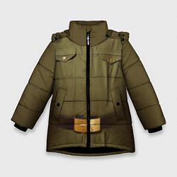 Куртка зимняя для девочки Униформа солдата цвета 3D-черный — фото 1