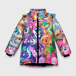 Детская зимняя куртка для девочки с принтом My Little Pony, цвет: 3D-черный, артикул: 10075443806065 — фото 1