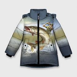 Куртка зимняя для девочки Дерзская щука цвета 3D-черный — фото 1