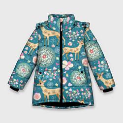 Куртка зимняя для девочки Олений узор цвета 3D-черный — фото 1