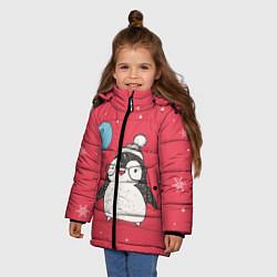 Куртка зимняя для девочки Влюбленная пингвинка цвета 3D-черный — фото 2