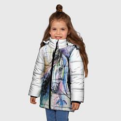 Куртка зимняя для девочки Акварельная лошадь цвета 3D-черный — фото 2