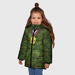 Куртка зимняя для девочки Самый лучший дед цвета 3D-черный — фото 2
