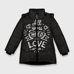 Детская зимняя куртка для девочки с принтом Любовь надпись, цвет: 3D-черный, артикул: 10081366706065 — фото 1