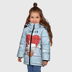 Куртка зимняя для девочки Влюбленные на шаре цвета 3D-черный — фото 2
