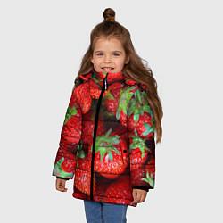 Куртка зимняя для девочки Клубничная цвета 3D-черный — фото 2