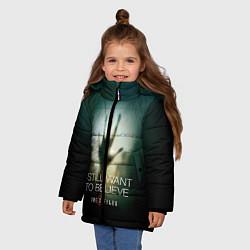 Куртка зимняя для девочки X-files: Alien hand цвета 3D-черный — фото 2