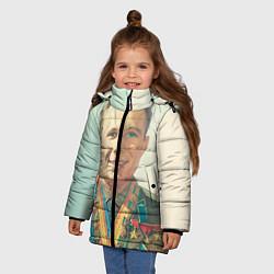Куртка зимняя для девочки Гагарин в орденах цвета 3D-черный — фото 2