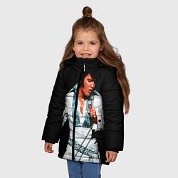 Куртка зимняя для девочки Элвис поет цвета 3D-черный — фото 2