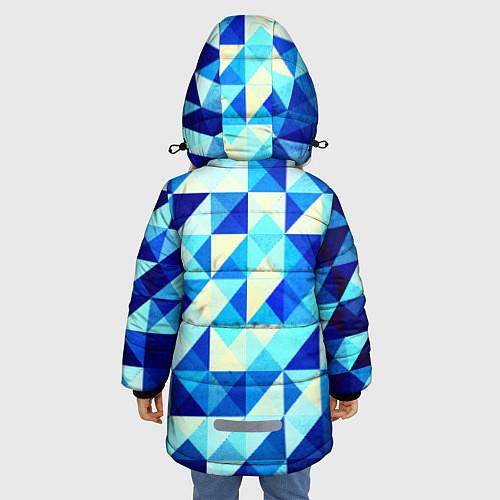 Зимняя куртка для девочки Синяя геометрия / 3D-Черный – фото 4
