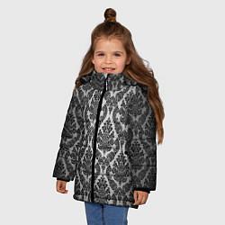 Куртка зимняя для девочки Гламурный узор цвета 3D-черный — фото 2