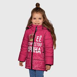 Куртка зимняя для девочки Её величество Ирина цвета 3D-черный — фото 2