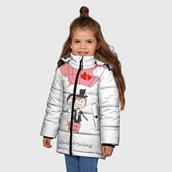 Детская зимняя куртка для девочки с принтом Молодожены на шаре, цвет: 3D-черный, артикул: 10085369306065 — фото 2