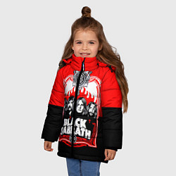Детская зимняя куртка для девочки с принтом Black Sabbath: Red Sun, цвет: 3D-черный, артикул: 10087840106065 — фото 2