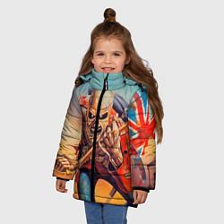 Детская зимняя куртка для девочки с принтом Iron Maiden: Crash arrow, цвет: 3D-черный, артикул: 10089880706065 — фото 2