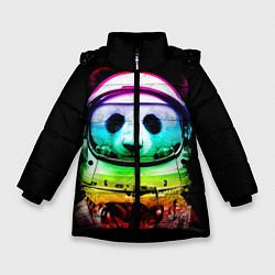 Куртка зимняя для девочки Панда космонавт цвета 3D-черный — фото 1