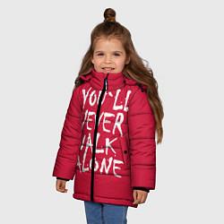 Куртка зимняя для девочки You'll never walk alone цвета 3D-черный — фото 2