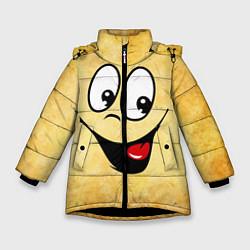 Куртка зимняя для девочки Заразительная улыбка цвета 3D-черный — фото 1