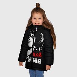 Куртка зимняя для девочки Цой жив цвета 3D-черный — фото 2