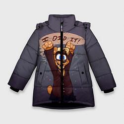 Детская зимняя куртка для девочки с принтом Five Nights: I Did It, цвет: 3D-черный, артикул: 10093561106065 — фото 1