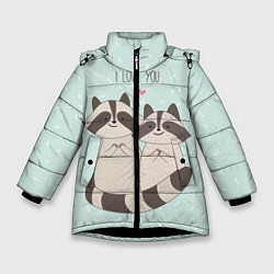 Куртка зимняя для девочки Влюбленные еноты цвета 3D-черный — фото 1