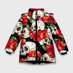 Куртка зимняя для девочки Черепки и розы цвета 3D-черный — фото 1