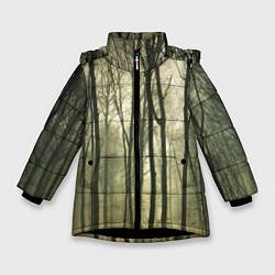 Куртка зимняя для девочки Чарующий лес цвета 3D-черный — фото 1