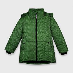 Куртка зимняя для девочки Змеиная зеленая кожа - фото 1