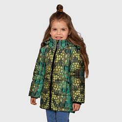 Куртка зимняя для девочки Крокодил цвета 3D-черный — фото 2