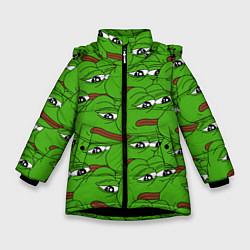 Куртка зимняя для девочки Sad frogs цвета 3D-черный — фото 1