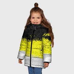 Детская зимняя куртка для девочки с принтом Имперский флаг 1858 года, цвет: 3D-черный, артикул: 10097511506065 — фото 2