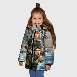 Детская зимняя куртка для девочки с принтом ВДВ, цвет: 3D-черный, артикул: 10098334106065 — фото 2