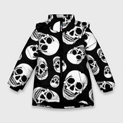 Куртка зимняя для девочки Черепа цвета 3D-черный — фото 1