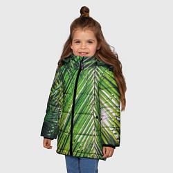 Куртка зимняя для девочки Пальмы цвета 3D-черный — фото 2