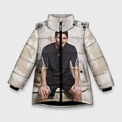Детская зимняя куртка для девочки с принтом Улыбчивый Месси, цвет: 3D-черный, артикул: 10099708706065 — фото 1