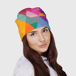 Шапка Разноцветные полигоны цвета 3D — фото 2