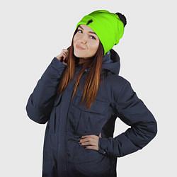 Шапка с помпоном Billie Eilish: Green цвета 3D-черный — фото 2