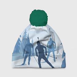 Шапка с помпоном Биатлон цвета 3D-зеленый — фото 1