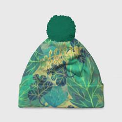 Шапка c помпоном Узор из листьев