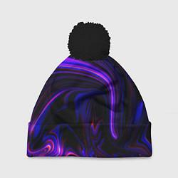 Шапка с помпоном Цветные разводы цвета 3D-черный — фото 1