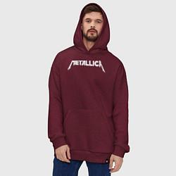 Толстовка-худи оверсайз Metallica цвета меланж-бордовый — фото 2