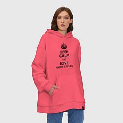 Толстовка-худи оверсайз Keep Calm & Love Harry Styles цвета коралловый — фото 2