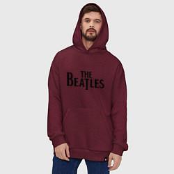 Толстовка-худи оверсайз The Beatles цвета меланж-бордовый — фото 2