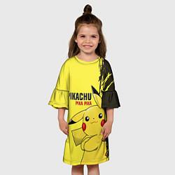 Платье клеш для девочки Pikachu Pika Pika цвета 3D-принт — фото 2
